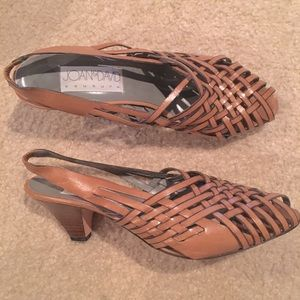 Joan & David Couture Slingback Leather Woven Shoes